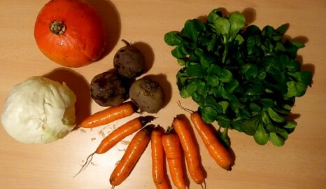 1 Weißkohl - 1 Hokaido - 500g Rote Beete - 500g Karotten - 100g Feldsalat [11. Januar]