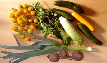 1 Stange Poree - 1 Maiskolben - 300g Rote Beete - 300g Zucchini - 250g Tomaten - 40g Basilikum [24. August]