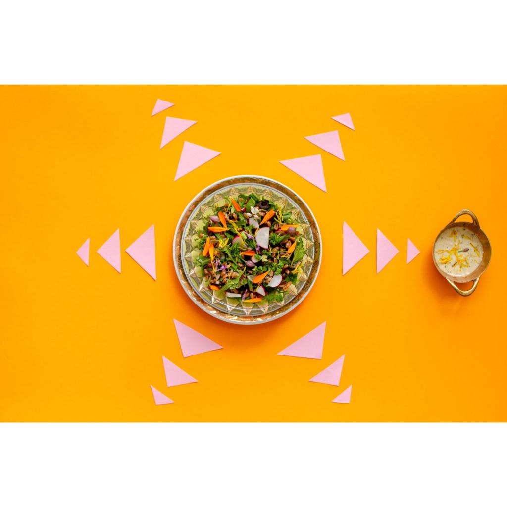Dinkel-Schnippel-Salat mit Sonnenblumendressing